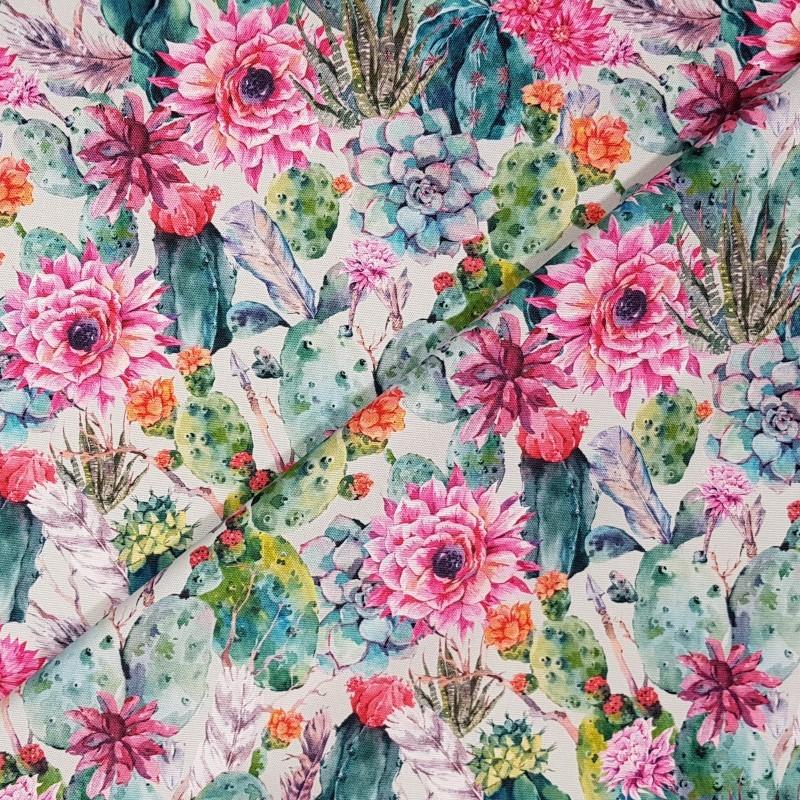 9bbfb79f7405eb Tkanina wodoodporna kaktusy i kwiaty na mięcie - #innywymiarszycia