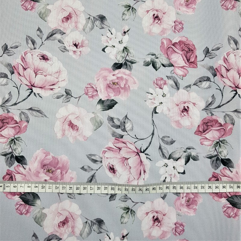 62e9d49db560 Vode odolná tkanina Albionove ruže na šedom - bez veľkosti